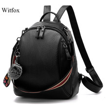 Witfox women 's backpack classic PU leather casual fashion book package for college school big capacity(China)