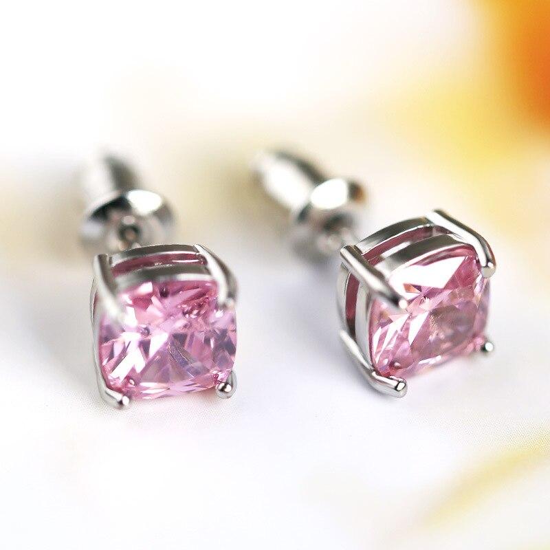 100% QualitäT 7x7mm Platz Topaz Stud Ohrringe Für Frauen Mode 925 Sterling Silber Schmuck Ohrring Party Jahrestag Hochzeit Geburtstag Geschenk