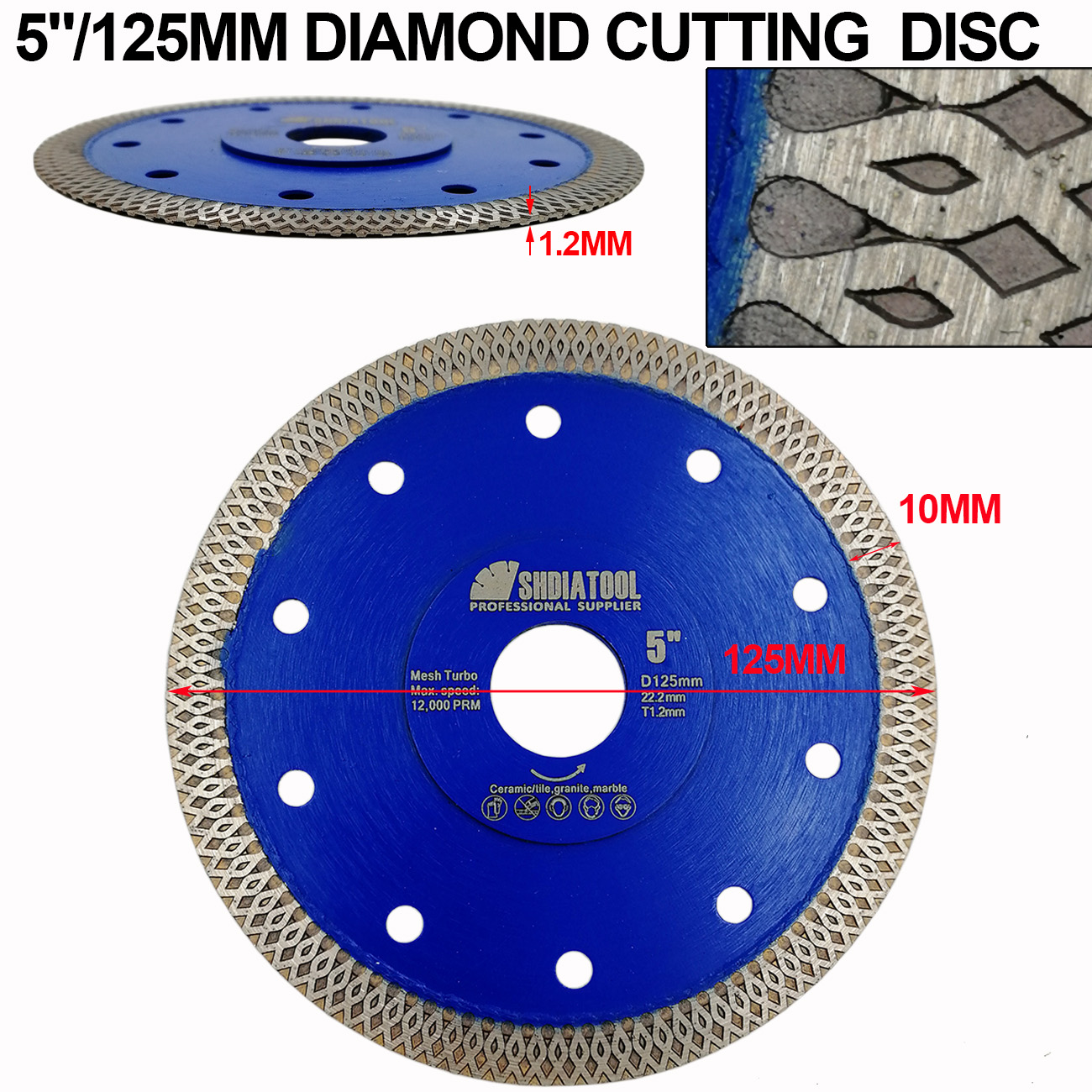 "Купить с кэшбэком Dia 4"" 4.5"" 5"" 7"" 8'' 9"" 10"" 12"" Hot pressed sintered X Mesh Diamond Saw blades Marble Tile Ceramic circular saw Cutting blades"