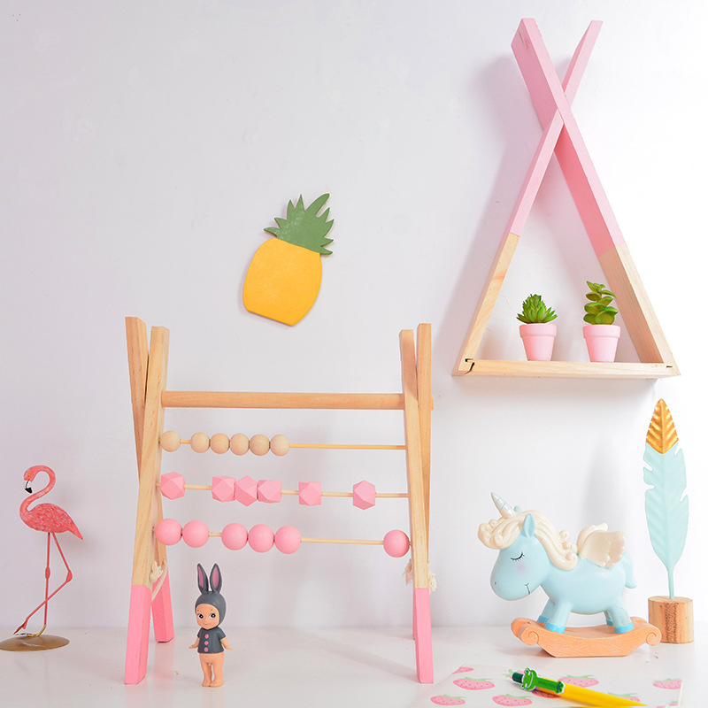 LM classique en bois éducatif comptage jouet Triangle étagère murale en bois boulier enfants début des mathématiques apprentissage jouet décor à la maison