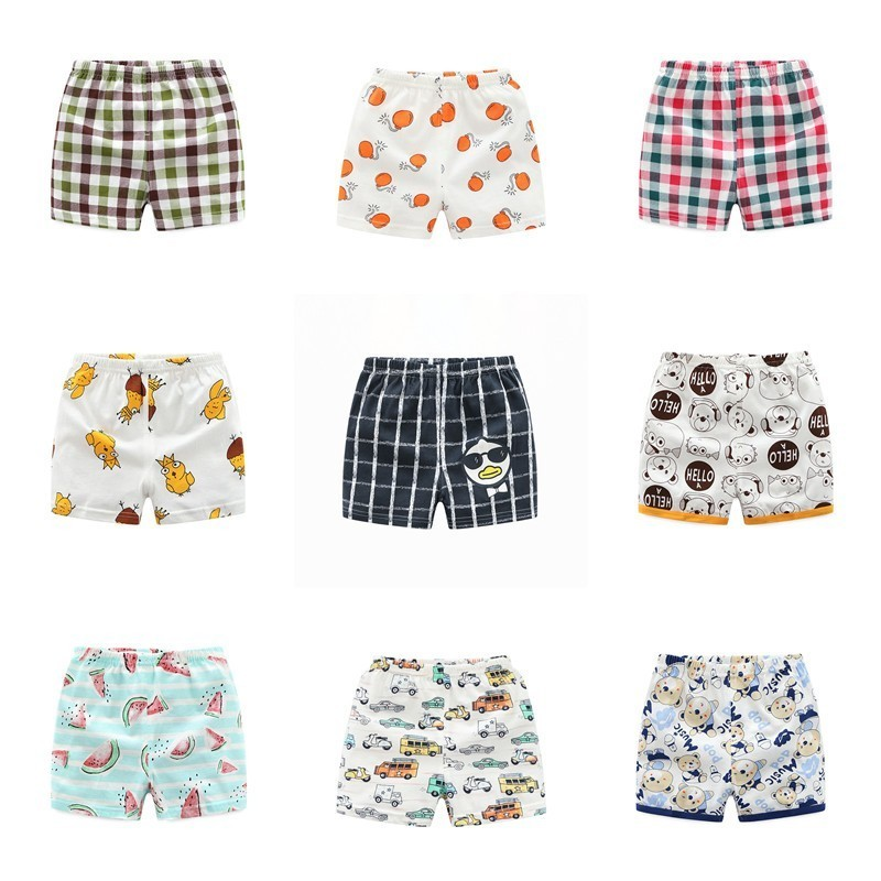 Summer Combed Cotton Baby Boys Girls   Shorts   Thin Cute Cartoon Printed Toddler Pants Children Trousers