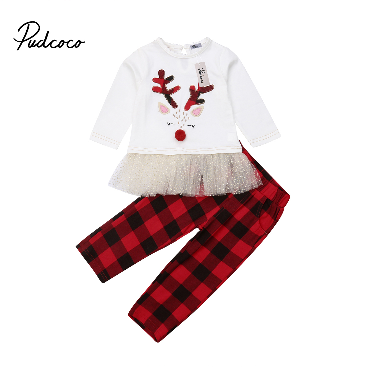 Sisters Matching Kids Baby Girls Deer Dress Tops T shirt+Plaid Pants 2pcs Outfits Set Clothes plaid
