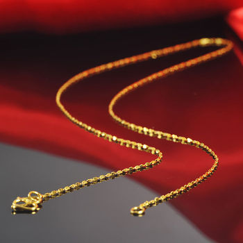 Fine Pure 999 24k Yellow Gold Women Lucky Full Star Chain Necklaces/16inch /2.6g 1
