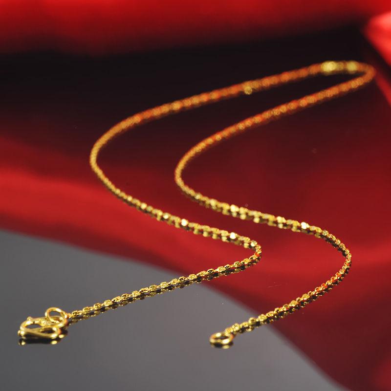 Takı ve Aksesuarları'ten Kolyeler'de Ince Saf 999 24k Sarı Altın Kadın Şanslı Tam Yıldız Zincir Kolye/16 inç/2.6g'da  Grup 1