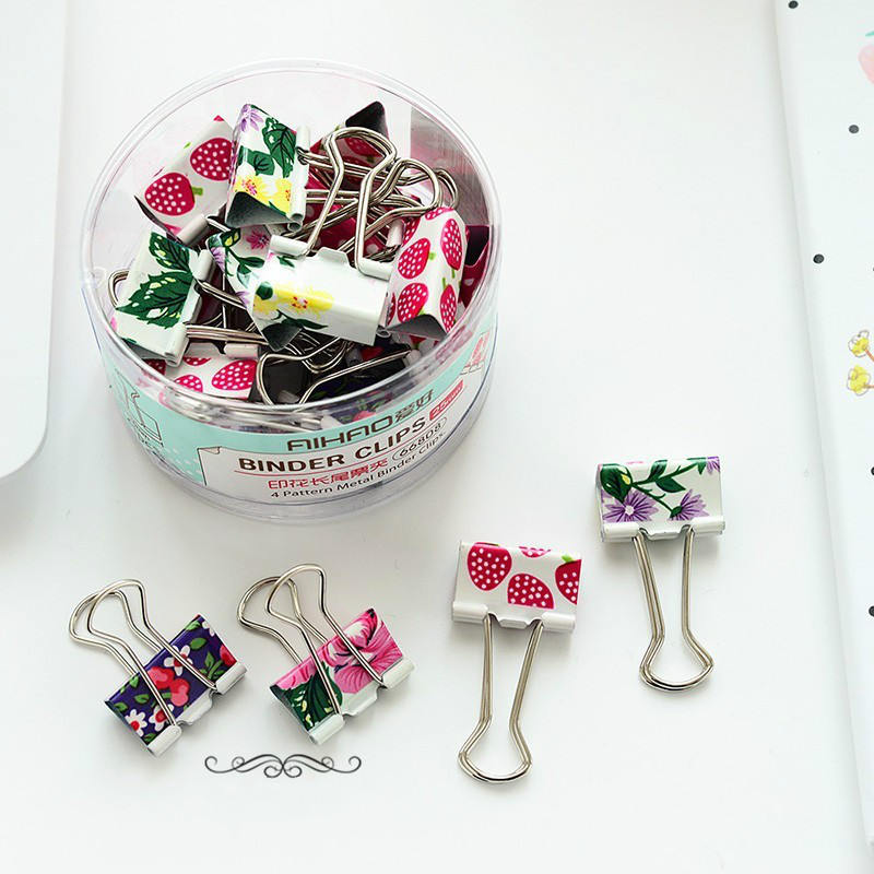 19mm Colorful Flower Heart Pink Design Clips Purse Dovetail Paper Clip Metal Binder Clip School Office Supplies 02620