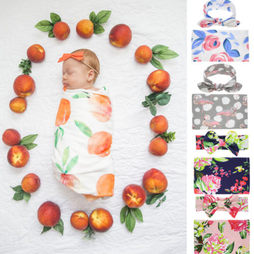 Baby Girl Boys Cotton Floral Photography Props Blanket Swadding Cloth Towels Wrap Todder Bed Sleeping Blankets Hair Headband Set
