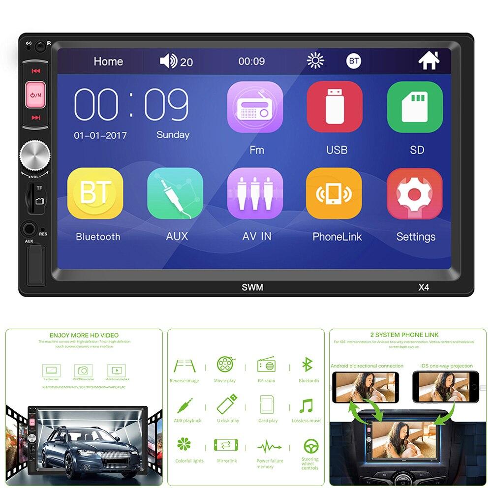Voiture électronique X4 7 pouces voiture Mp5 lecteur Support Android 8.1 IOS Bluetooth commande au volant télécommande lecteur