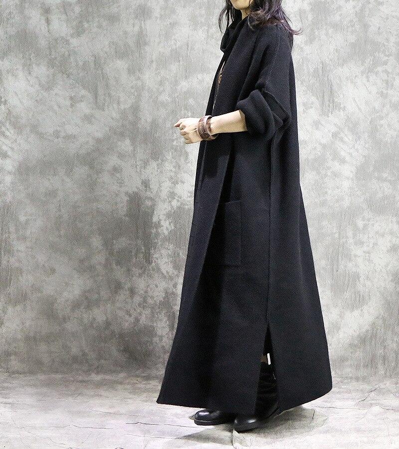 Tricot Vintage Long Black Vers Femmes Manches Bas Nouvelle Tournent En Le Longues Hiver Automne Solide Manteau À Ac627 Mode Patchwork ewq Laine 2018 0qBaxw7Z