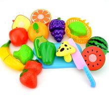 Fruit Vegetable Food Cutting Set Pretend Role Play Kitchen Food Toys for Kids Educational Toys, 12pcs Random Style baby toys simulation vegetable fruit seafood wooden toys for kids cut set prentend play large food set educational birthday gift