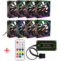 Computer Case PC Cooling Fan RGB Adjustable LED 120mm 6pin Quiet IR Remote Control Computer Cooler Cooling Fan Case Fan CPU
