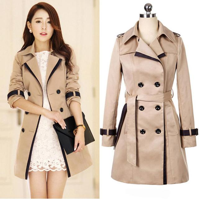 820837348 US $27.3 |Autumn and winter windbreaker classic ladies large size long coat  with belt double breasted casual retro trench coat S 3XL-in Trench from ...