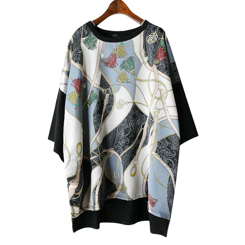 Long Women Europe Fashion 2019 Spring Summer O-neck Short Sleeve T-shirt Female Patchwork Casual Irregular Tee E470 1