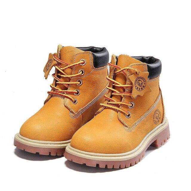 5fa4d1facc836 EU 21-36 gros enfants chaussures enfants moutarde Martin bottes en cuir  véritable garçon fille