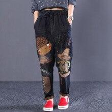 Харадзюку, джинсы с вышивкой и дырками в национальном стиле, джинсы с мультяшным принтом, штаны-шаровары с эластичной резинкой на талии, джинсовые штаны-шаровары размера плюс