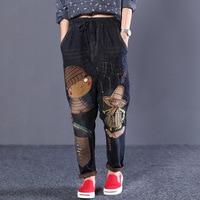Harajuku Embroidery National Wind Hole Jeans Printing Cartoon Jeans Elastic Waist Harem Pants Radish Denim Harem Pants Plus Size