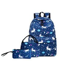 SWYIVY Bag for Woman School Bacpacks Travel 2019 Unicor 3 In 1 Unicorn Bags Pencil Case Printing Backpack Women High capacity