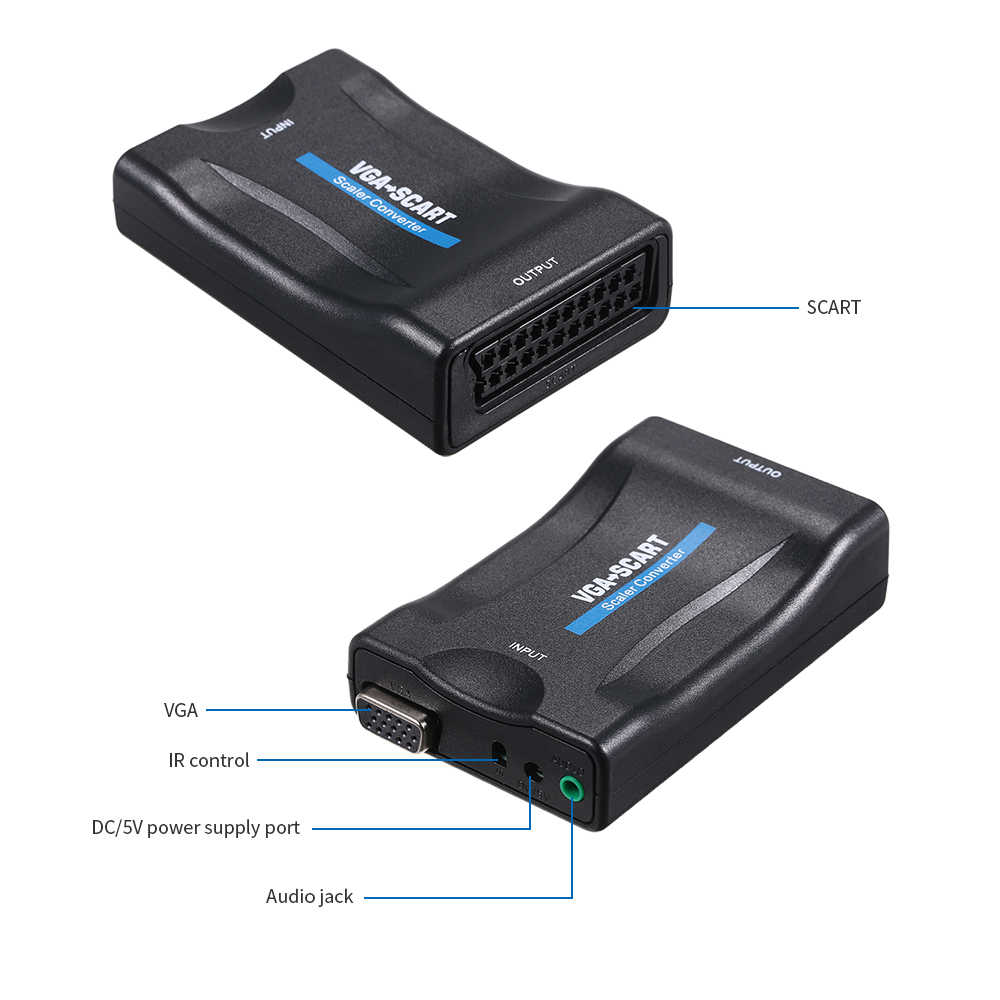 VGA to Scart Converter Video Audio Converter Video Adapter 1080P for TV and Projector VGA to SCART Video Converter