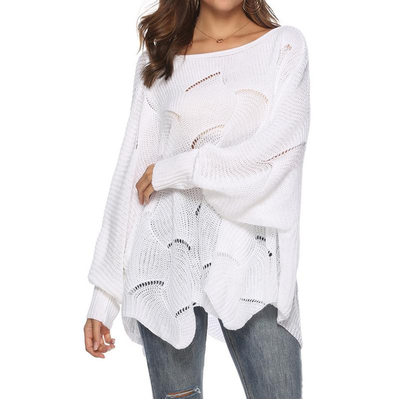 2019 Women Knitted Sweater Cloak Loose Shawl Pullover Autumn Winter Sweater Hook Flowers Plus Size Women Streetwear Poncho