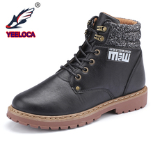 hot deal buy yeeloca fashion men's business casual shoes martins ankle boots work shoes high-top hiking shoes warm snow boots