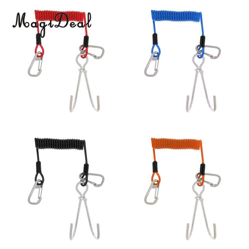 1500 MPa Scuba Diving Reef Double Hooks With Spiral Coil Lanyard And Carabiner -4 Color For Water Sports Dive SCUBA Snorkeling