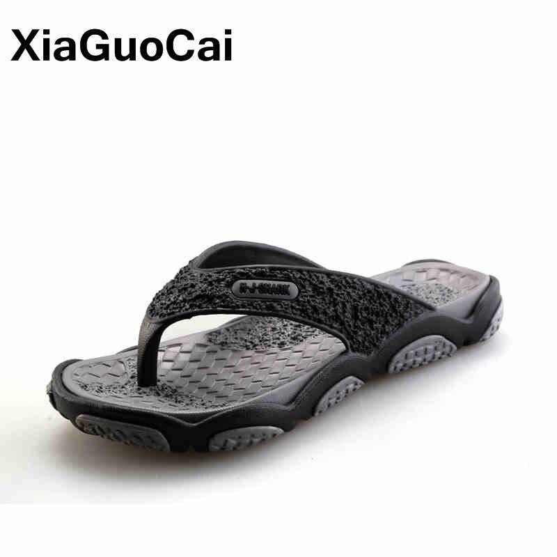 Homens mensagem chinelos verão nova chegada homem flip flops moda pitada pés masculino sapatos de praia leve tangas 2019 calçados masculinos