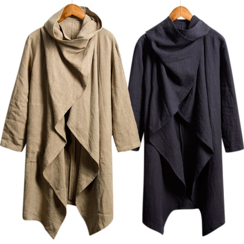 Gothic Chic Cloak Men Long Outwear Shirts Cardigan Long Sleeve Irregular Slim Fit Male Cloak   Trench   Mantle Coat Outfits Hoody