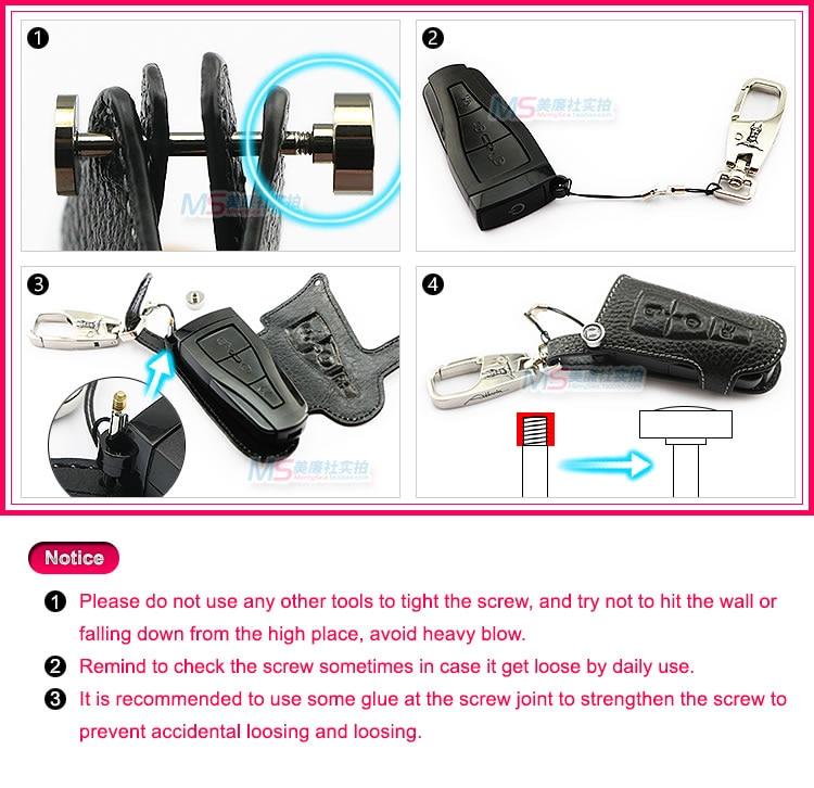 Color negro Cuero genuino Car Key fob Cubierta Key Wallet Key Case - Accesorios de interior de coche - foto 6