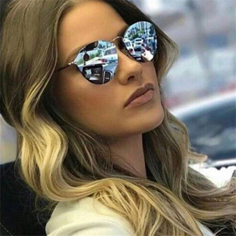 NYWOOH Sunglasses Women Eyewear Mirror Rimless Female UV400 Luxury Cat-Eye Metal Retro