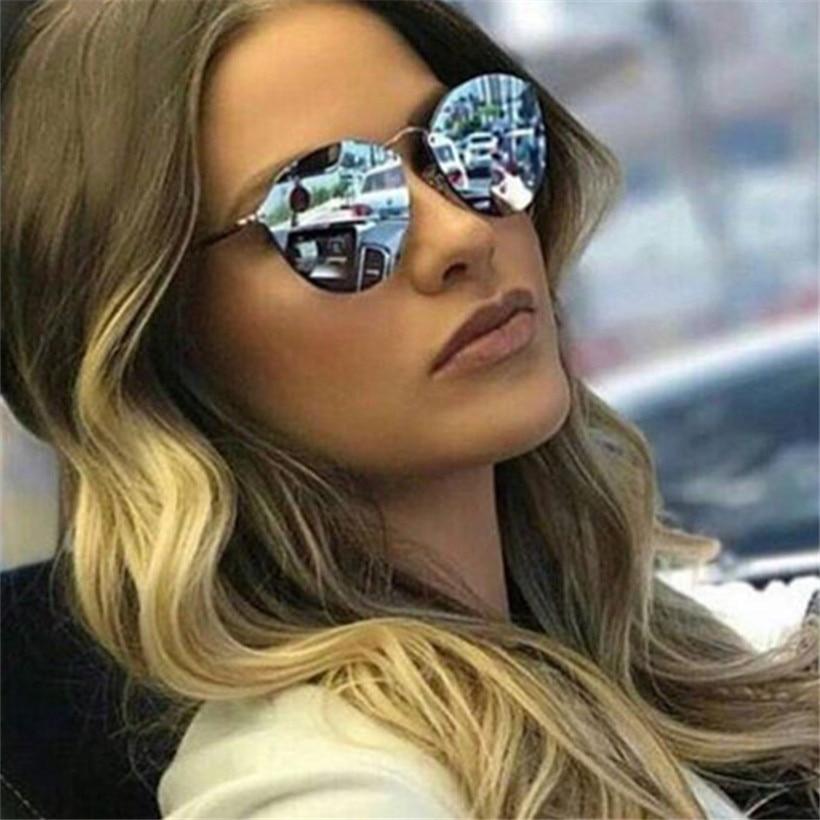NYWOOH Cat Eye Sunglasses Women Luxury Coating Mirror Sun Glasses Female Retro Rimless Metal Eyewear UV400