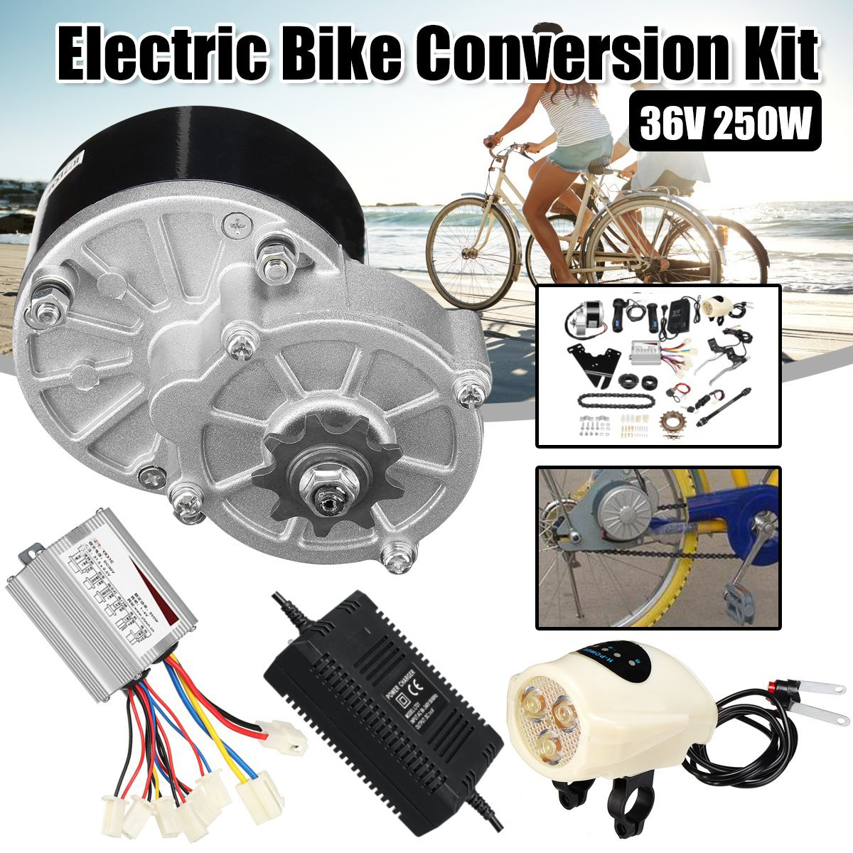 36 v 250 w Kit De Conversion Vélo Électrique Contrôleur Moteur Chargeur Commutateur de Commande de Vitesse Pour 22-28 pouce Électrique accessoires vélo