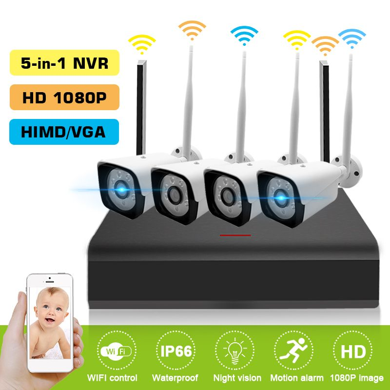 4Pcs Video Camera Hd Monitor Kit 4ch HD 1080p 3 6mm Ip Camera Surveillance Camera Security