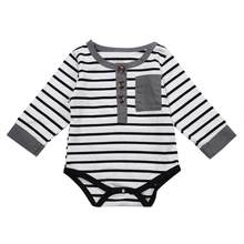 ab9233a94a2b 2019 New Black and White Striped Long Sleeve Baby Infant Jumpsuit Bodysuit  Outfits Autumn Baby Cotton Newborn Body Suit Overall