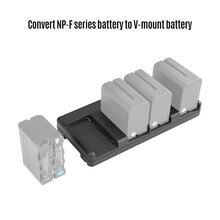 NiceFoto NP 04 NP F baterii, aby V do montażu na konwerter baterii płyta adaptera 4 slot dla Sony NP F970 bateria do LED lampa wideo