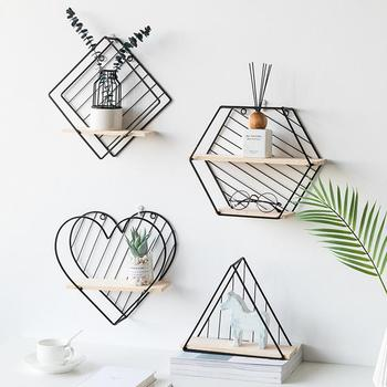 Wood Iron Art Hexagon Nordic Modern Style Storage Rack Wall Hanging Type Home Organizer Shelf Holder Decoration Tool