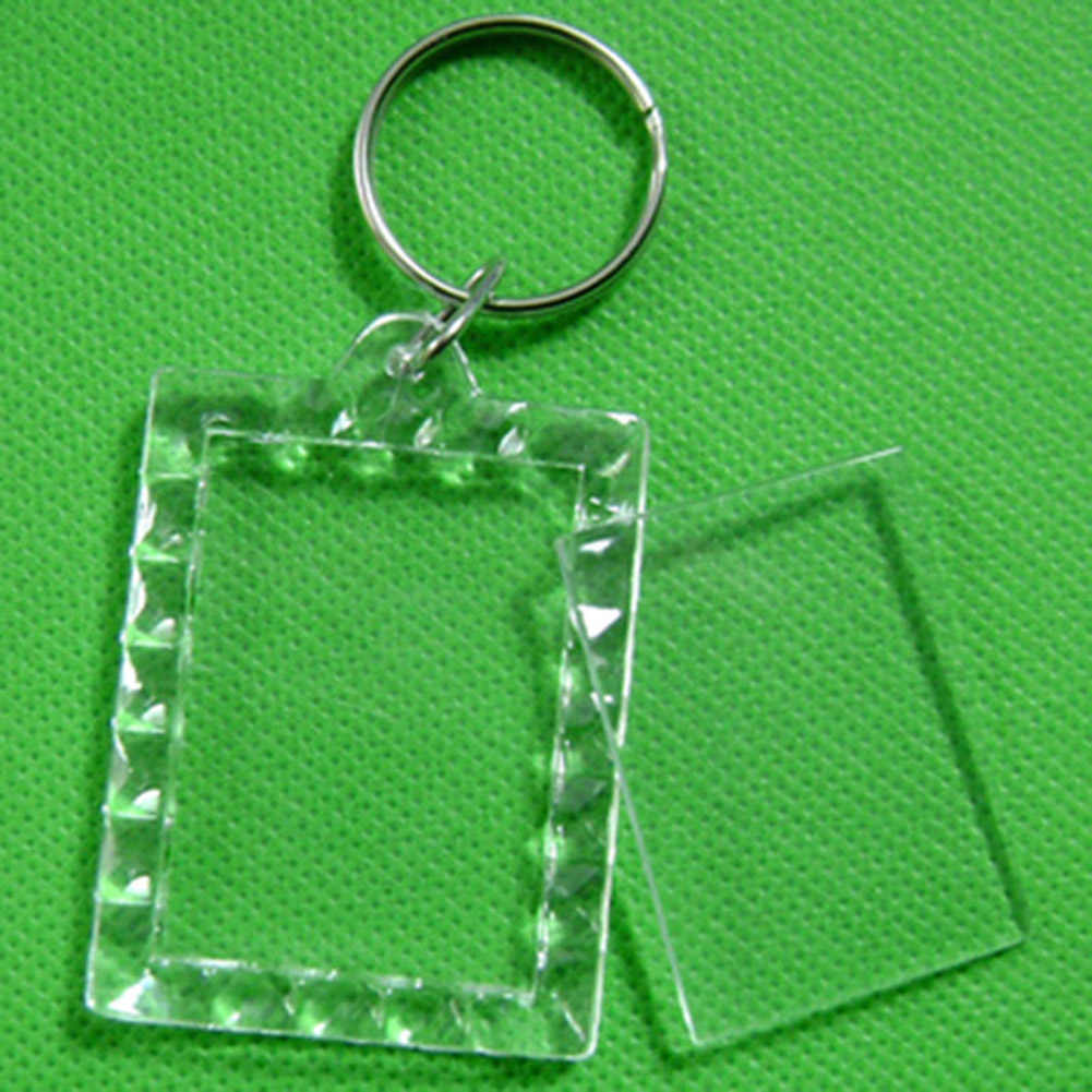 Personalizado transparente acrílico insertar foto marco publicidad llaveros DIY en blanco círculo cuadrado forma de manzana llaveros