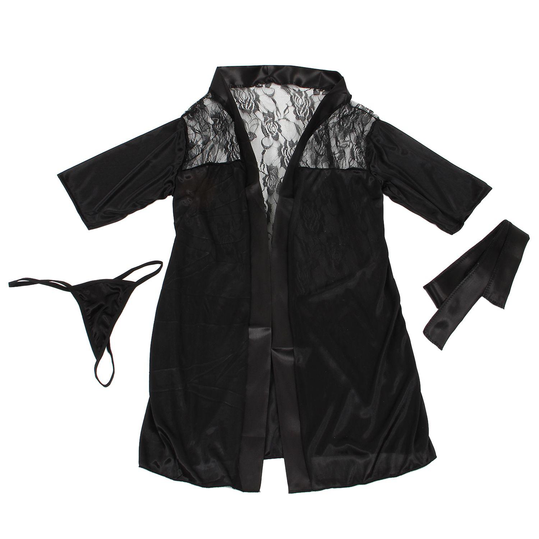 Sexy Lingerie Women Black Lace Stain Intimate Sleepwear Babydoll Dress Nightwear