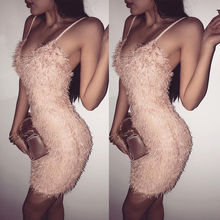 Europe And The United States Sexy Latest Ladies Bandage Sleeveless Fur Sling Casual Party Low To Help Sexy Mini Pencil Dress