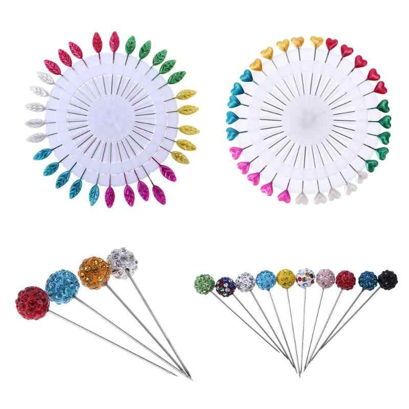 30Pcs/lot Colorful Heart Shape Straight Head Pins Localization Needle Weddings Corsage Dressmaking Sewing Pins Accessories
