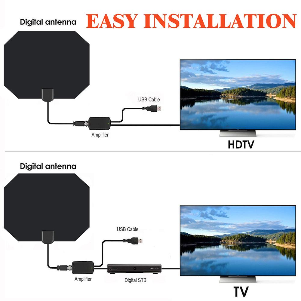 Image 2 - For ATSC ISDB DVB T HD Digital TV Antenna Long 80 Miles Range Support 4K 1080P HDTV Amplifier Signal Booster Antenna New-in TV Antenna from Consumer Electronics
