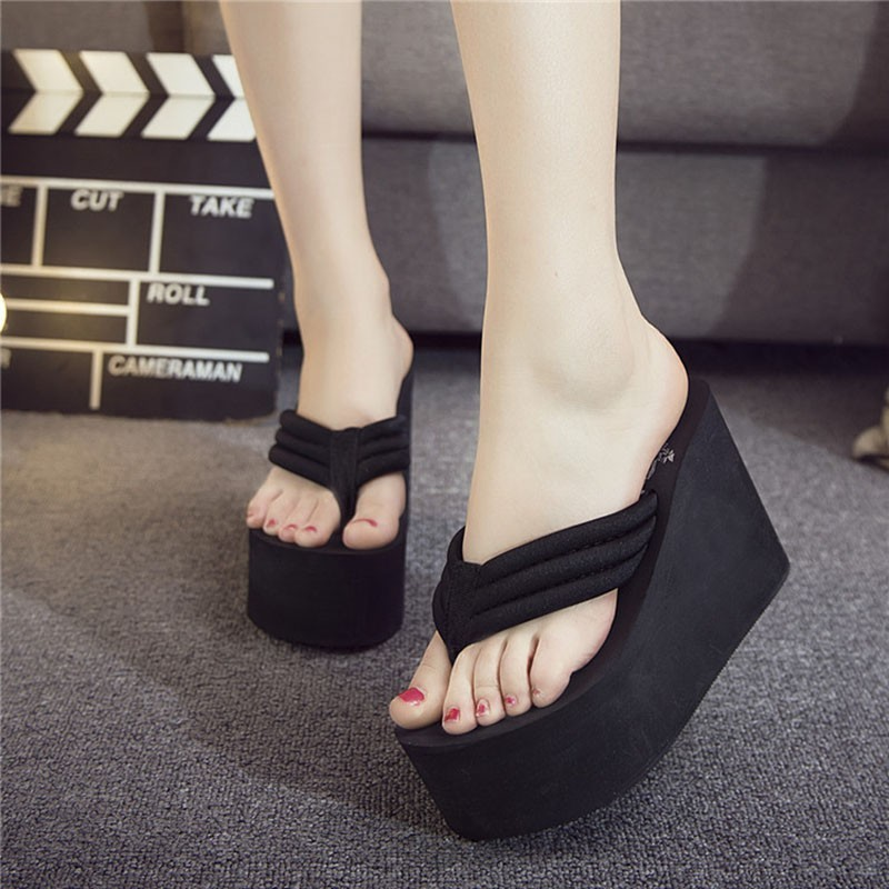 <font><b>Slippers</b></font> Fashion Summer <font><b>Women</b></font> Chunky <font><b>Wedges</b></font> Flip Flops Casual <font><b>Shoes</b></font> Super <font><b>High</b></font> <font><b>Heel</b></font> Waterproof <font><b>Slippers</b></font> <font><b>Sexy</b></font> Lady Sandals image