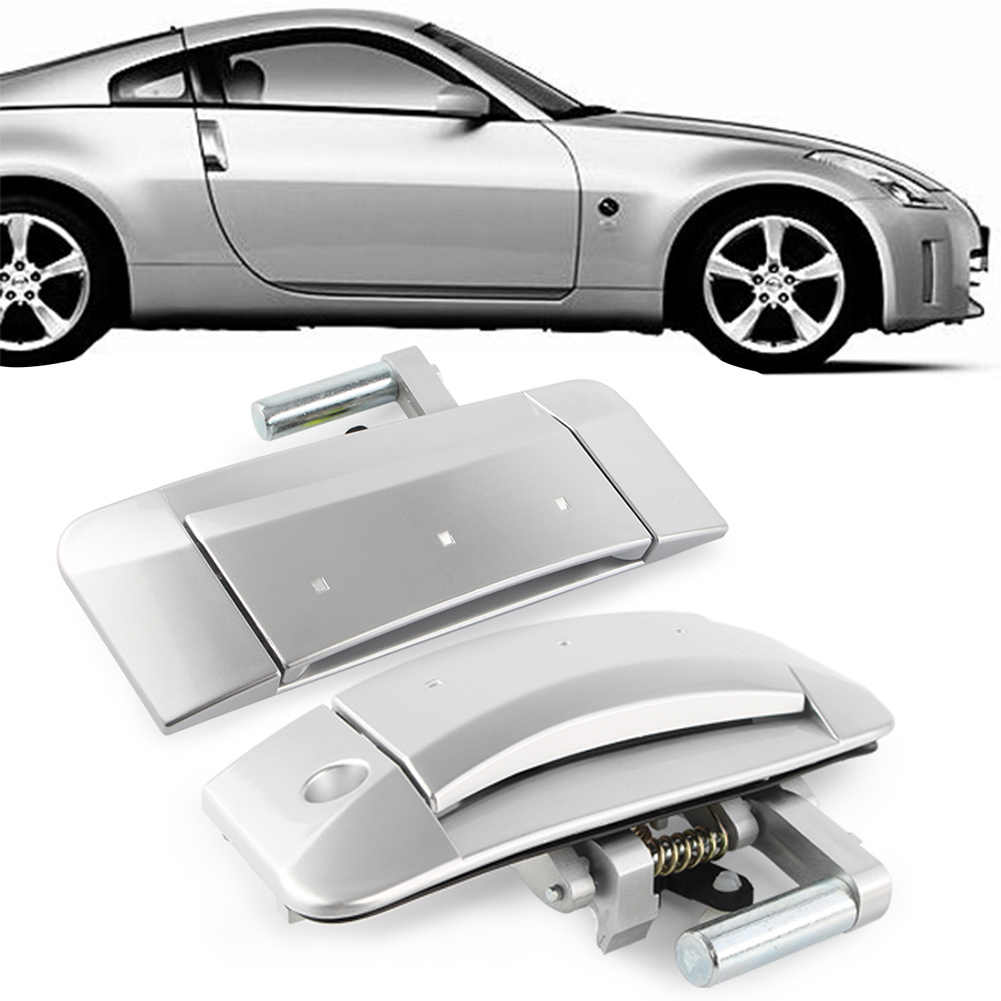 Outside Outer Silver Door Handle For Nissan 350Z  2003 2004 2005 2006 2007 2008 2009 1Pair Right&Left (Left Driver Only)