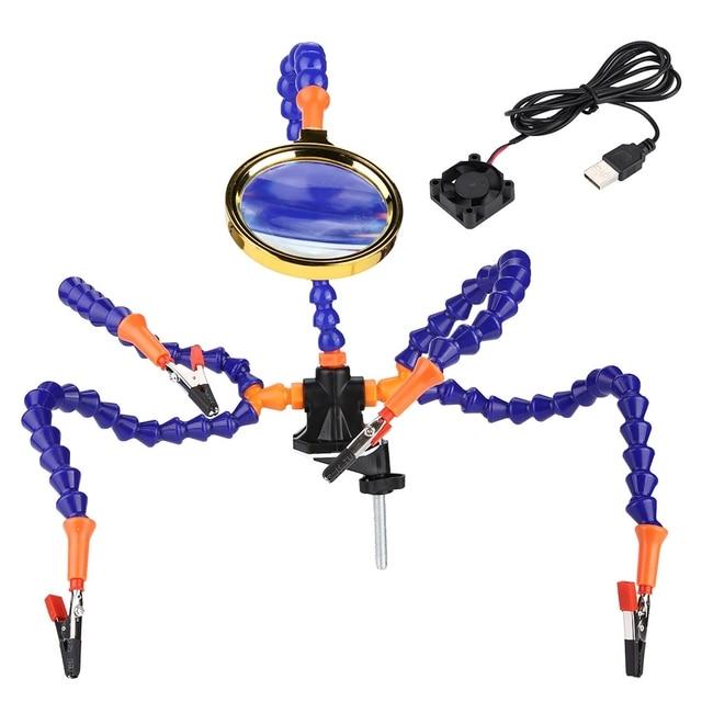 Manos de ayuda herramienta de soldadura de tercera mano 6 brazos flexibles Estación de soldadura de cinco brazos con vidrio de aumento, abanico para RC Dr