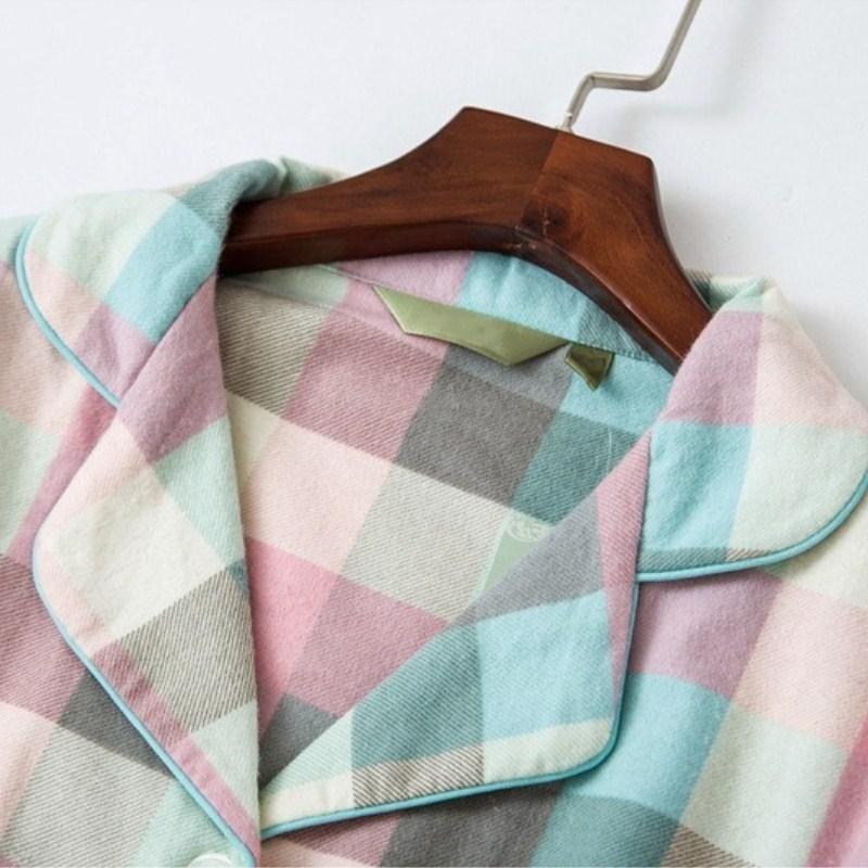 Female Turn-Down Collar Pockets   Nightgown   Spring Single Breasted Thin Sleepwear Women Plaid Casual Loose   Sleepshirt