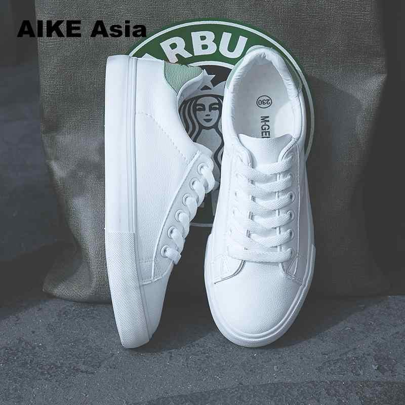 HOT Vrouwen Sneakers Mode Breathble Gevulkaniseerd Schoenen Pu leer Platform Lace up Casual Wit Tenis Feminino Zapatos De Mujer 6