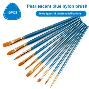 10 Pcs Multifunction Watercolor Gouache Wooden Handle Flat Tip Brush Pens Pearl Blue Kids Paint Brush Set Point Tip Brush Pen