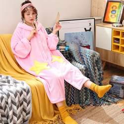 Коралловый бархатный халат Для женщин мультфильм милый теплый Халат с капюшоном Дамы Повседневное звезда фланель кимоно платья