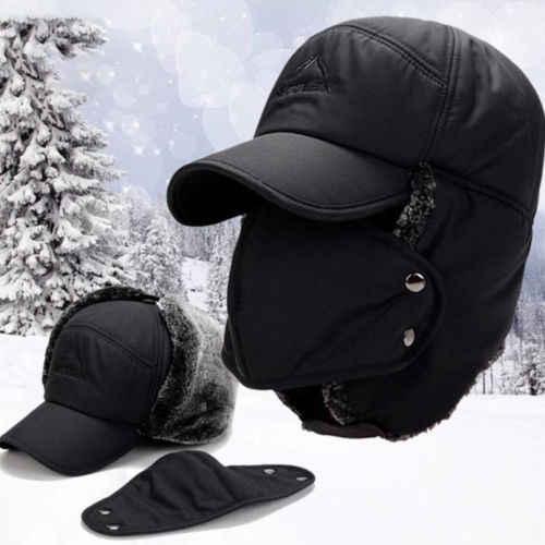 4e7fa2b343b New Neck warmer hat scarf set fur Wool Lining Thick Warm Knit beanies  balaclava Winter Hat