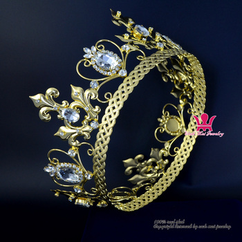 Full Round Crown Gold And Silver Plated For Men Women Cosplay King Prince Or Queen Vintage Hairwear Fashion Jewelry Tiaras Mo213