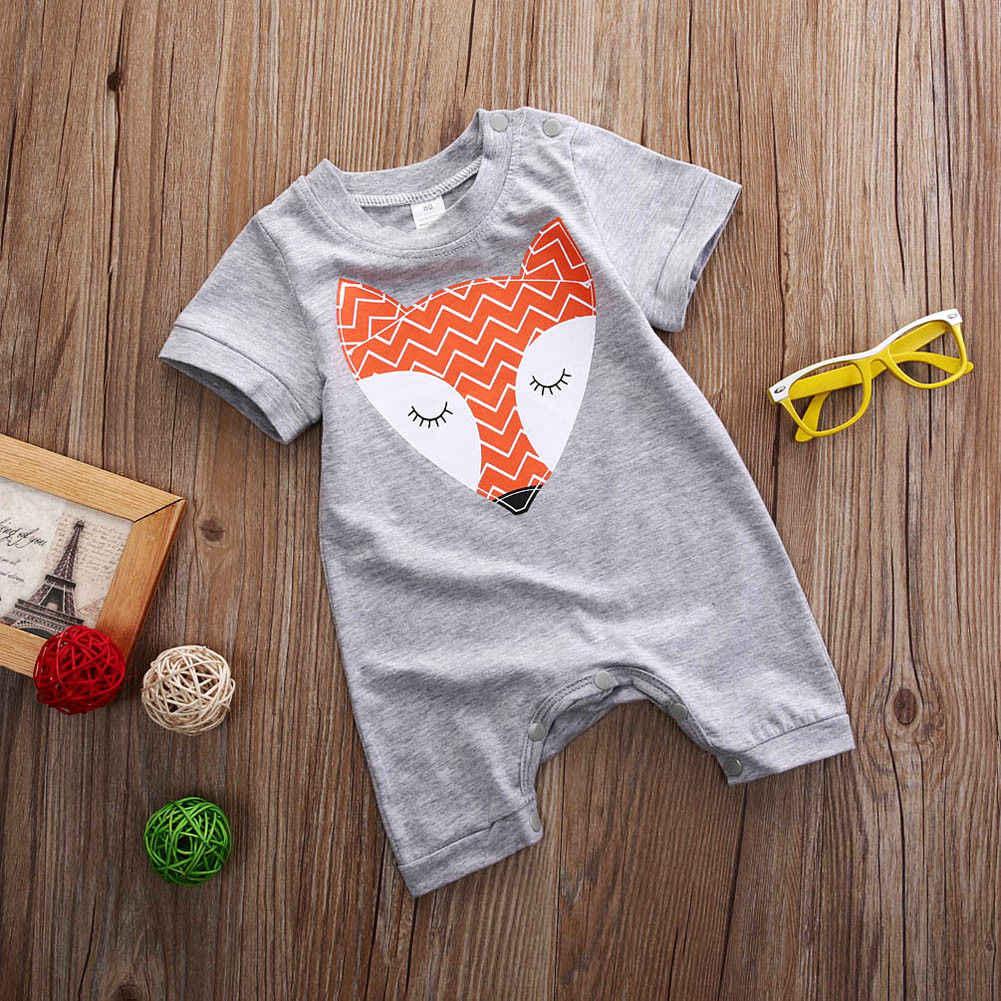 Комбинезон с лисичкой для маленьких мальчиков и девочек, комбинезон одежды снаряжение, От 0 до 2 лет, летний сарафан для новорожденных мальчиков