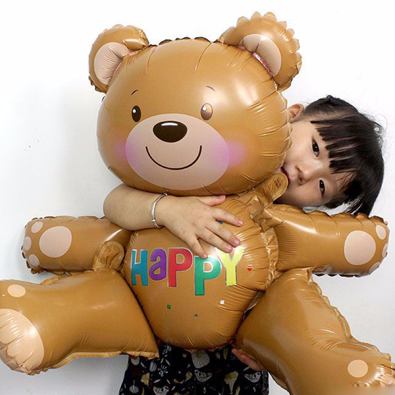 30'' Large 3D Bear Animal Kawaii Party Toys Foil Balloons Party Hat Happy 0-5 Years Birthday Theme Party Toys For Children